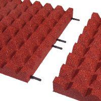 Červená gumová dlaždice (V65/R28) - délka 50 cm, šířka 50 cm a výška 6,5 cm FLOMAT