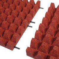 Červená gumová dlaždice (V75/R50) - délka 50 cm, šířka 50 cm a výška 7,5 cm FLOMAT