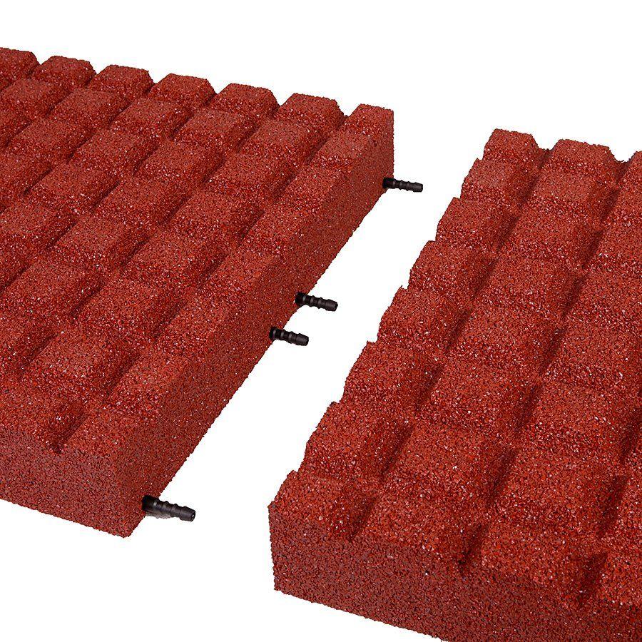Červená gumová dlaždice (V80/R15) - délka 50 cm, šířka 50 cm a výška 8 cm FLOMAT