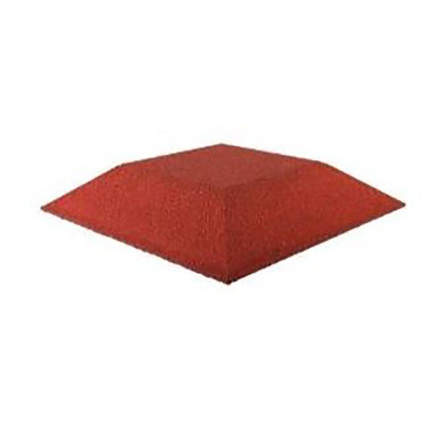Červená gumová krajová dlaždice (roh) (V90/R00) - délka 50 cm, šířka 50 cm a výška 9 cm FLOMAT