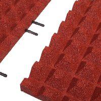 Červená gumová krajová dlaždice (V40/R28) - délka 50 cm, šířka 25 cm a výška 4 cm