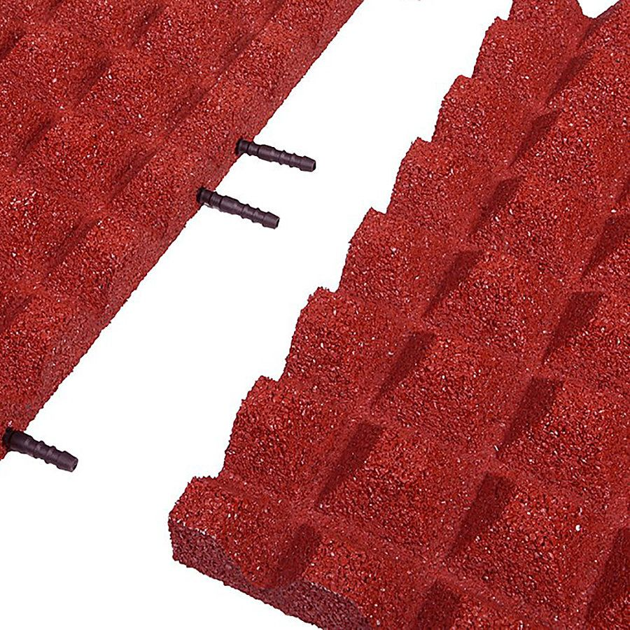 Červená gumová krajová dlaždice (V45/R28) - délka 50 cm, šířka 25 cm a výška 4,5 cm FLOMAT