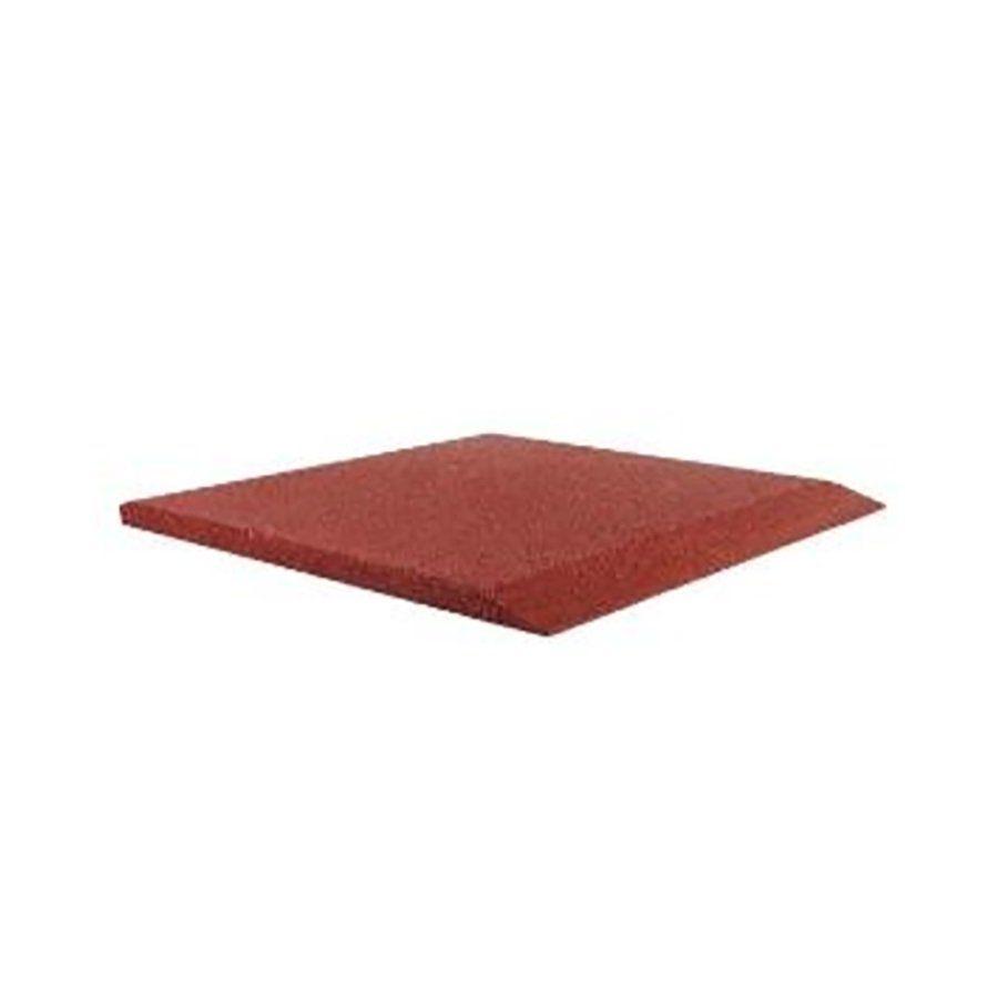 Červená gumová krajová dlaždice (V50/R00) - délka 50 cm, šířka 50 cm a výška 5 cm FLOMAT