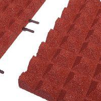 Červená gumová krajová dlaždice (V50/R28) - délka 50 cm, šířka 25 cm a výška 5 cm