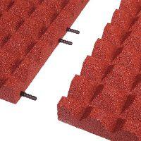 Červená gumová krajová dlaždice (V55/R28) - délka 50 cm, šířka 25 cm a výška 5,5 cm