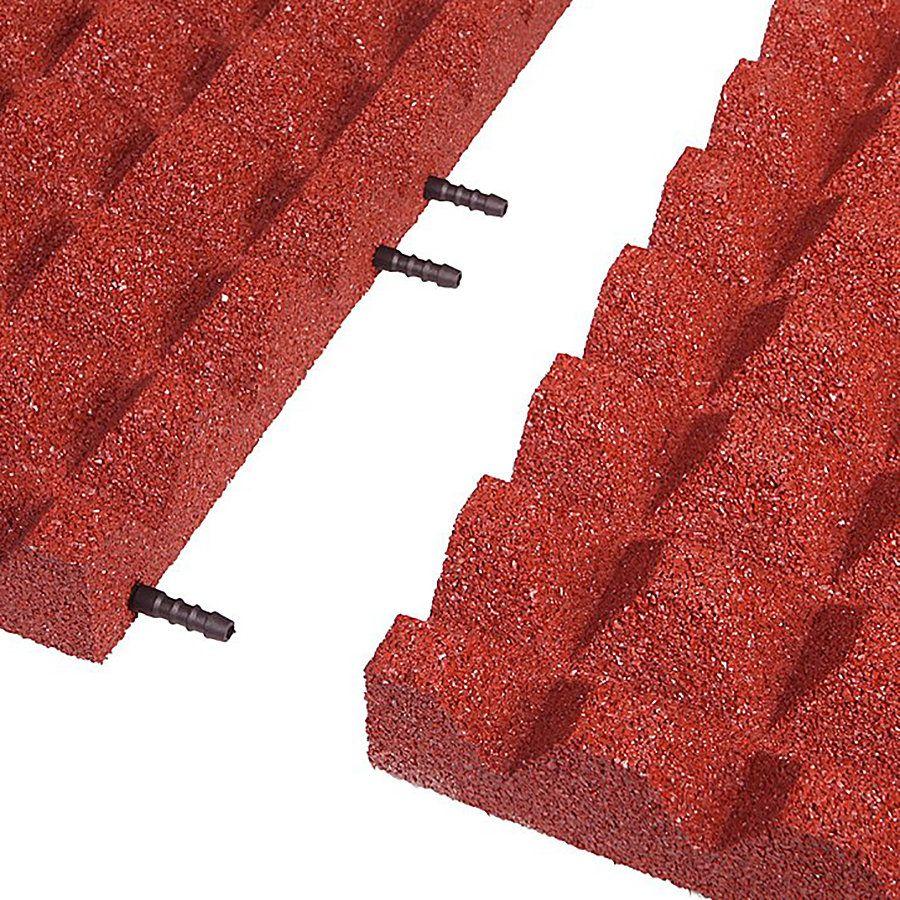 Červená gumová krajová dlaždice (V55/R28) - délka 50 cm, šířka 25 cm a výška 5,5 cm FLOMAT