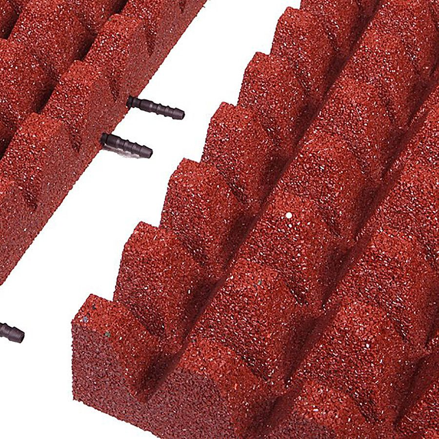 Červená gumová krajová dlaždice (V80/R50) - délka 50 cm, šířka 25 cm a výška 8 cm FLOMAT