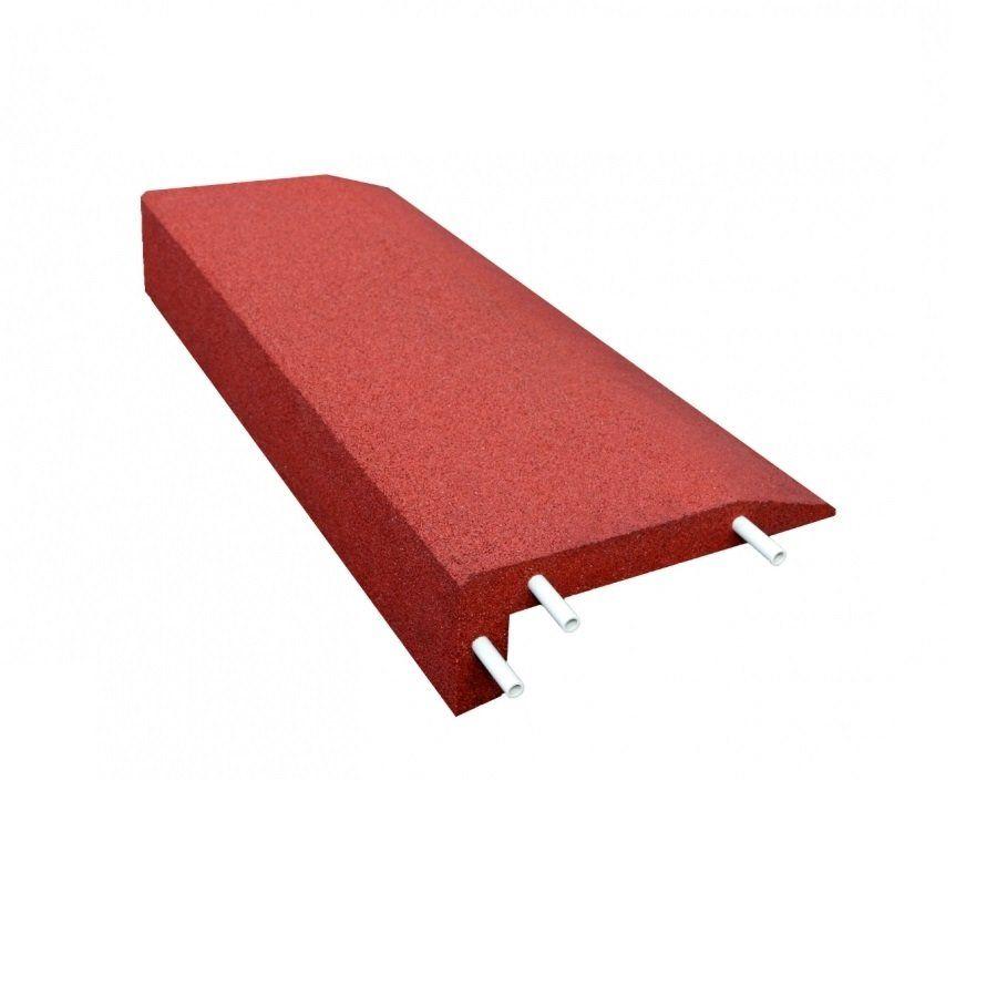 Červený gumový kryt obrubníku - délka 100 cm, šířka 40 cm a výška 15 cm FLOMAT