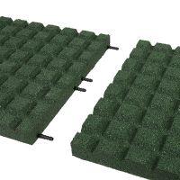 Zelená gumová dlaždice (V50/R15) - délka 100 cm, šířka 100 cm a výška 5 cm