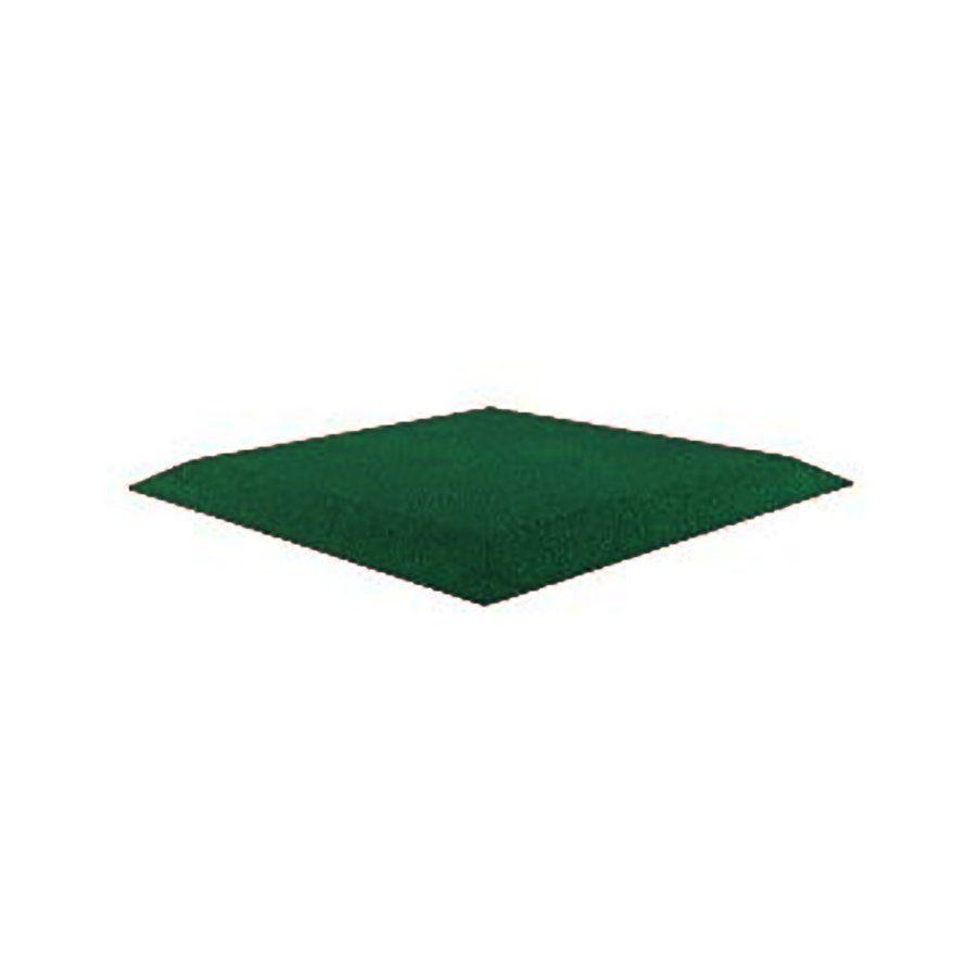 Zelená gumová krajová dlaždice (roh) (V50/R00) - délka 50 cm, šířka 50 cm a výška 5 cm FLOMAT