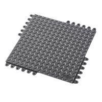 Černá gumová modulární průmyslová rohož De-Flex - délka 45 cm, šířka 45 cm a výška 1,9 cm