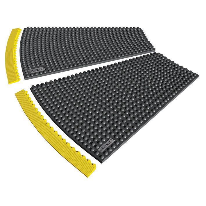 Černá gumová rohož (okraj) Skywalker HD o-Curve, ESD - výška 1,3 cm FLOMAT