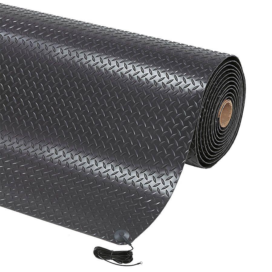 Černá protiskluzová ESD rohož Diamond Stat - délka 22,8 m, šířka 91 cm a výška 1,4 cm FLOMAT