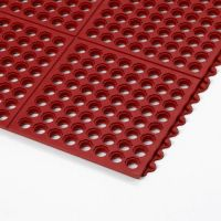 Červená gumová modulární kuchyňská rohož Cushion Easy, Red - 91 x 91 x 1,9 cm
