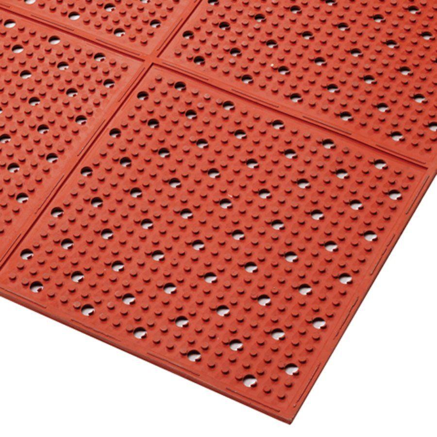 Červená gumová protiskluzová oboustranná rohož Multi Mat II, Red - délka 60 cm, šířka 975 cm a výška 0,95 cm FLOMAT