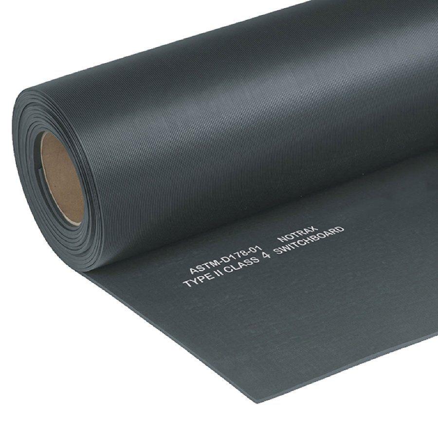 Černá elektroizolační průmyslová rohož Switchboard, Class 4 - délka 9,14 m, šířka 91 cm a výška 1,27 cm FLOMAT