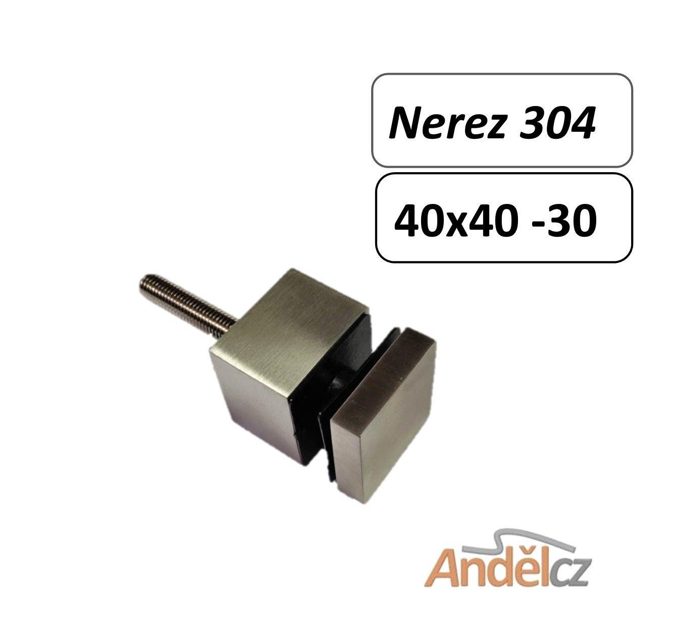 Držák skla bodový hranatý40 x 40 - 30 M10