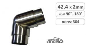 koleno lomené 3D stavitelné nerez  42,4