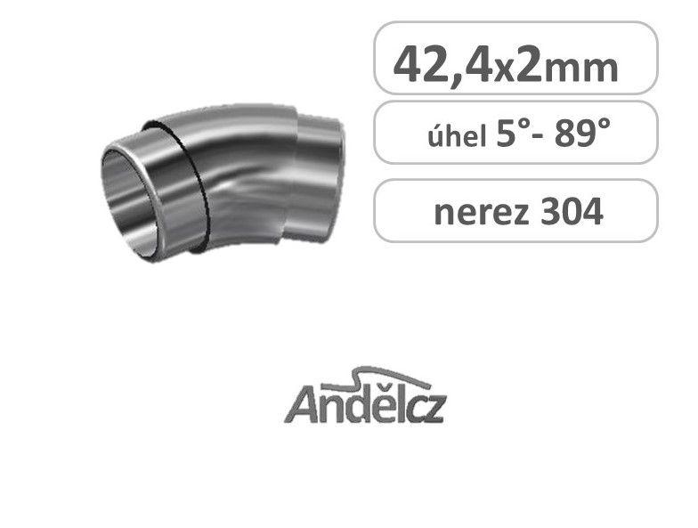 Koleno nerez oblouk 42,4 x 5°až 89°