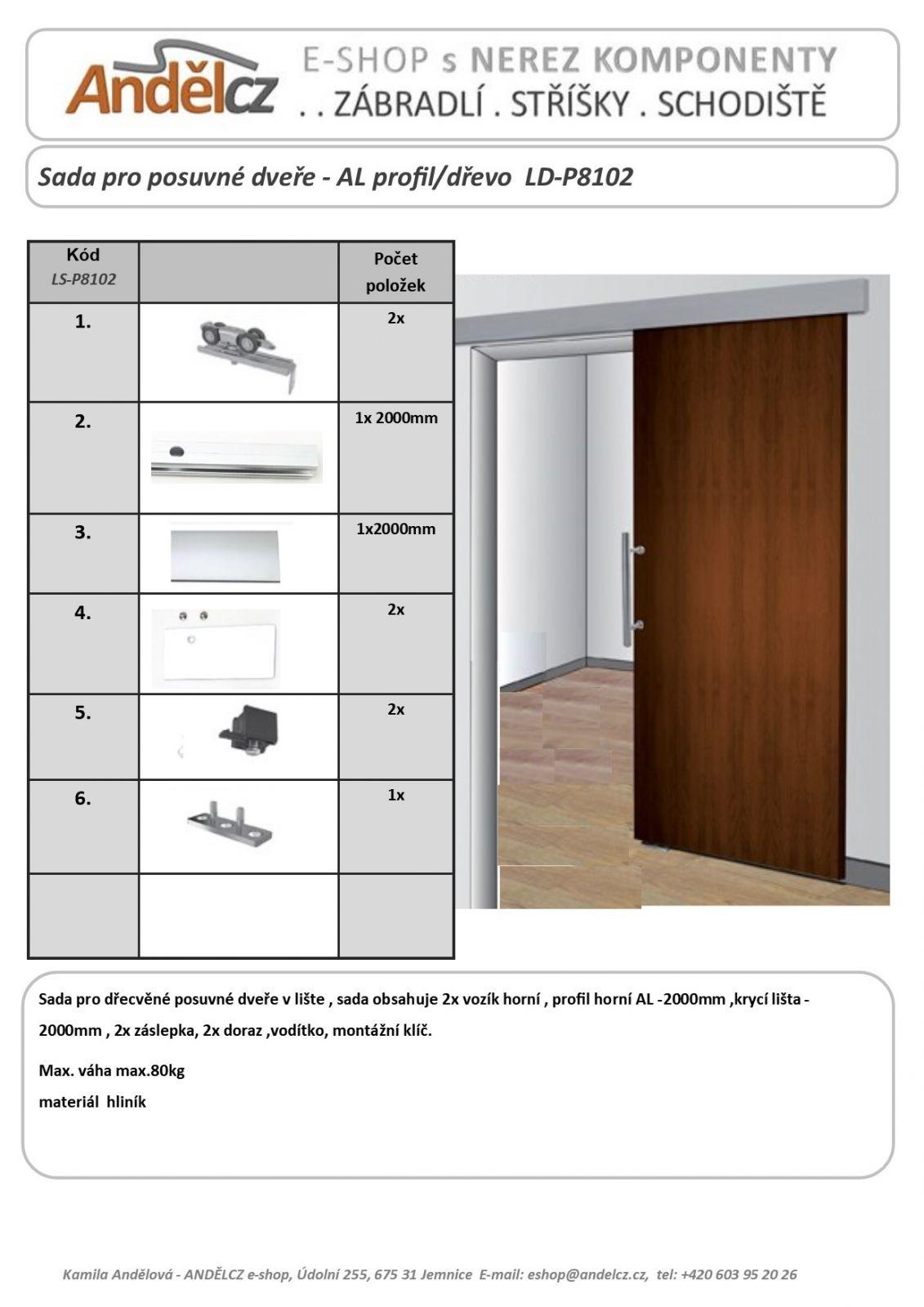 Sada pro posuvné dveře dřevěné - lišta/dřevo