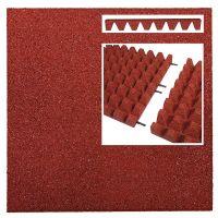 Červená gumová dlaždice (V65/R50) - délka 50 cm, šířka 50 cm a výška 6,5 cm FLOMAT