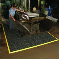 Černá gumová modulární průmyslová rohož Cushion Easy, Nitrile GSII FR - délka 91 cm, šířka 91 cm a výška 1,9 cm FLOMAT