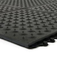 """Černá gumová náběhová hrana """"samec"""" pro rohož Diamond Plate Tile - délka 98,5 cm a šířka 7,5 cm FLOMAT"""