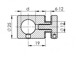 Držák skla a výplně D25/d16/L20mm