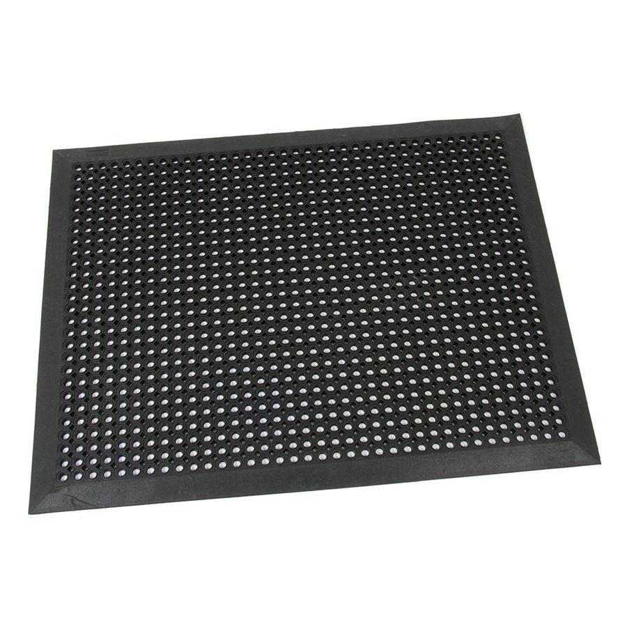 Černá gumová venkovní rohož s obvodovou hranou Octomat Mini - délka 120 cm, šířka 180 cm a výška 1,25 cm FLOMAT