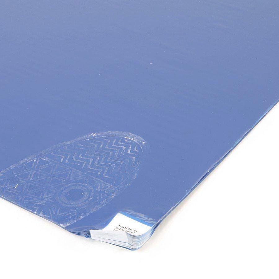 Světle modrá lepící dezinfekční dekontaminační rohož FLOMA - délka 90 cm a šířka 45 cm - 60 listů FLOMAT
