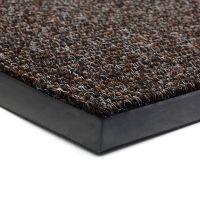Tmavě hnědá textilní vstupní vnitřní čistící zátěžová rohož Catrine, FLOMAT - délka 90 cm, šířka 130 cm a výška 1,35 cm