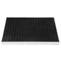 Kovová ocelová čistící venkovní vstupní rohož ze svařovaných podlahových roštů s gumou bez pracen Galva, FLOMAT - délka 51,5 cm, šířka 60 cm a výška 6 cm