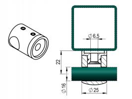 Držák výplňe D16-plochý průchozí - zábradlí
