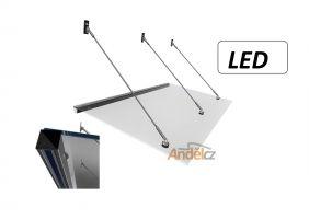 přístřešky závěsné s LED světlem,  skla a nerezu
