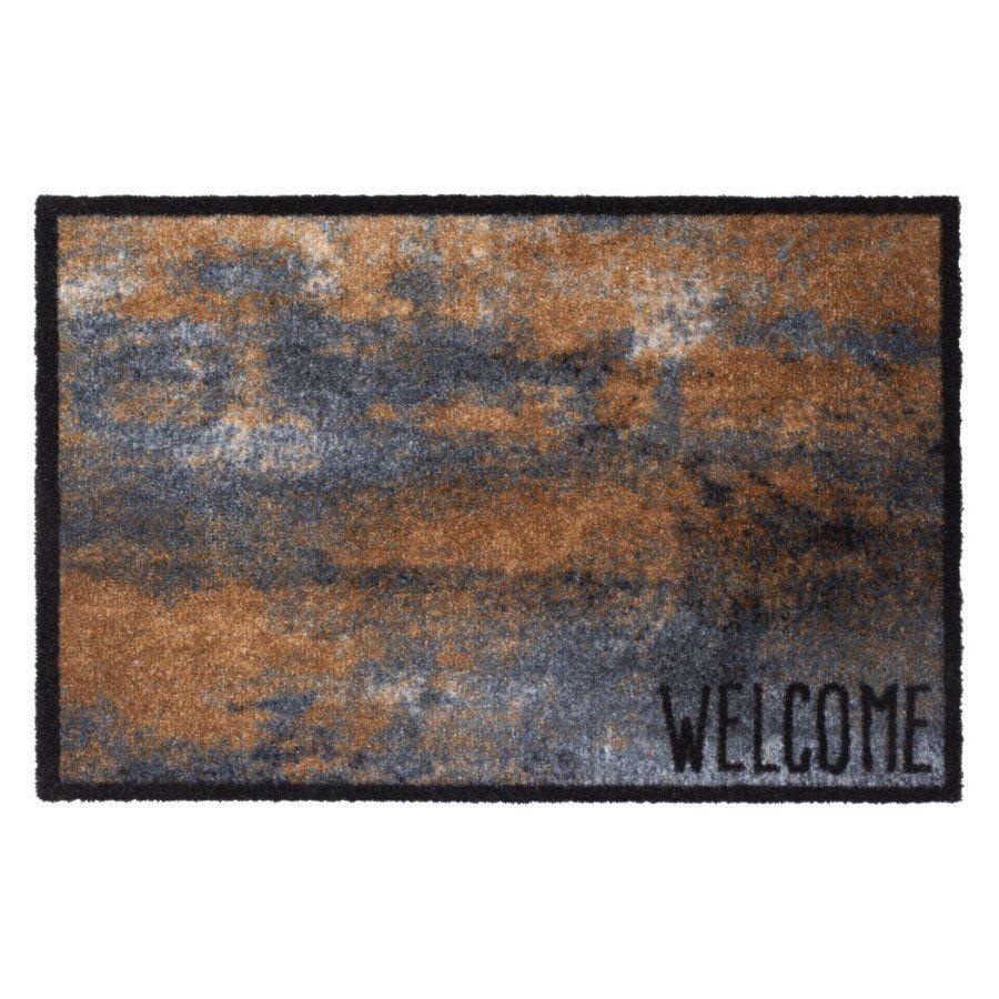 Vnitřní vstupní čistící pratelná rohož Prestige, Welcome rust, FLOMA - délka 50 cm a šířka 75 cm FLOMAT