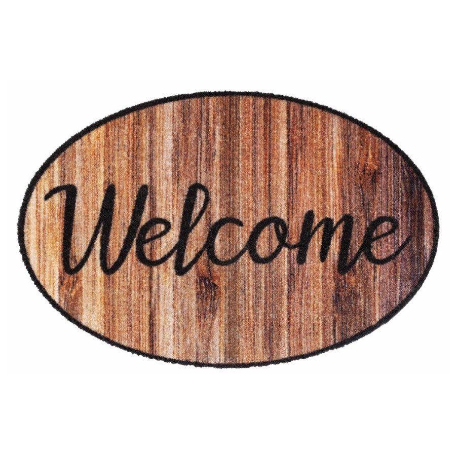Vnitřní vstupní čistící pratelná rohož Prestige, Welcome wood, FLOMA - délka 50 cm a šířka 75 cm FLOMAT