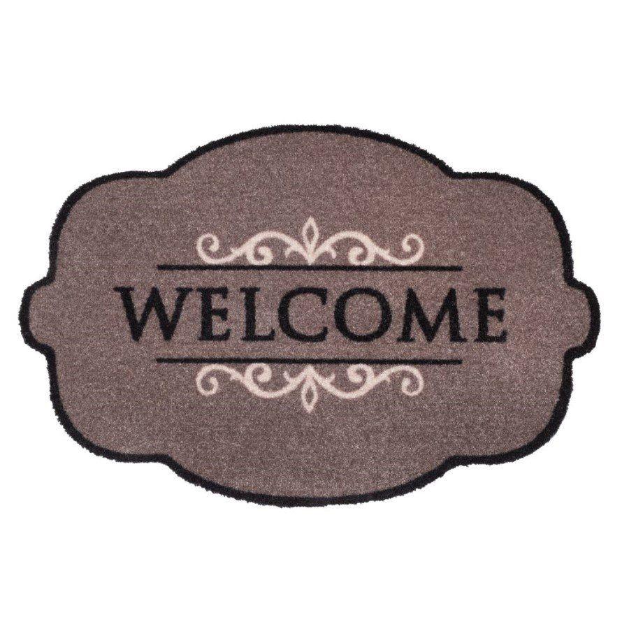 Vnitřní vstupní čistící pratelná rohož Prestige, Welcome ornament, FLOMA - délka 50 cm a šířka 75 cm FLOMAT
