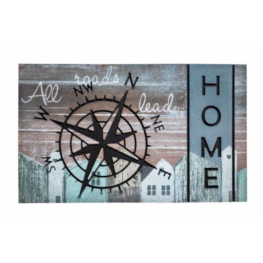 Venkovní vstupní čistící rohož Residence, Compass Road Home, FLOMA - délka 45 cm, šířka 75 cm a výška 0,9 cm FLOMAT