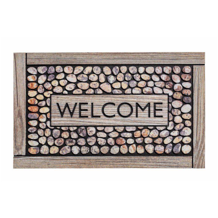 Venkovní vstupní čistící rohož Residence, Welcome Framed Pebbles, FLOMA - délka 45 cm, šířka 75 cm a výška 0,9 cm FLOMAT