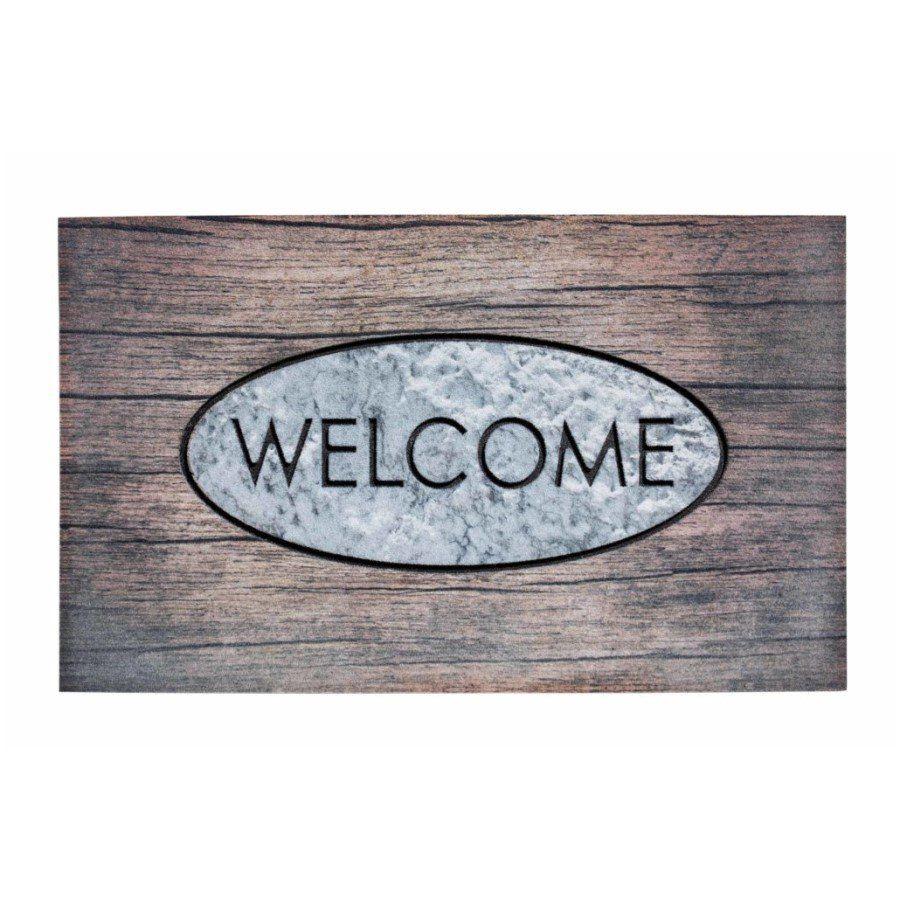 Venkovní vstupní čistící rohož Residence, Welcome wood, FLOMA - délka 45 cm, šířka 75 cm a výška 0,9 cm FLOMAT