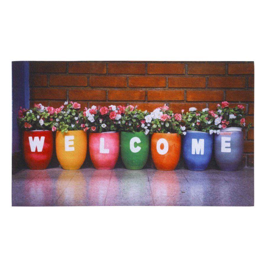 Vnitřní vstupní čistící rohož Gallery, Welcome, FLOMA - délka 45 cm, šířka 75 cm a výška 0,6 cm FLOMAT