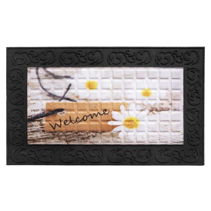 Vnitřní vstupní čistící rohož Venga, Welcome Daisies, FLOMA - délka 45 cm, šířka 75 cm a výška 0,6 cm FLOMAT