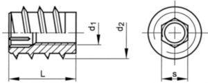 Závitová vložka do dřeva s vnitřním šestihranem Ocel M8X23 14/16