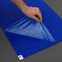 Modrá lepící dezinfekční antibakteriální dekontaminační rohož Antibacterial Sticky Mat, FLOMA - délka 45 cm a šířka 115 cm - 60 listů FLOMAT