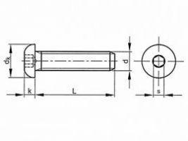 ŠROUB M10x50 s PŮLKUL HL. S VNITŘ 6HR ISO 7380/A2