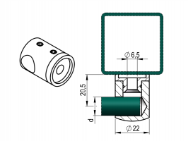 Držák výplňe D12mm prutu levý -plochý