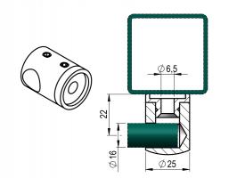 Držák výplňe D16 mm prutu levý -plochý