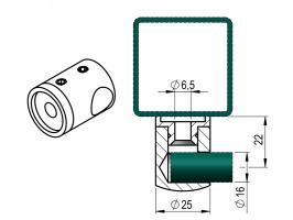 Držák výplňe D16 mm prutu PRAVÝ -plochý