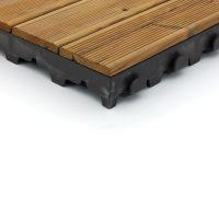 Hnědá dřevoplastová terasová dlaždice Linea Combi-Wood - délka 40 cm, šířka 40 cm a výška 6,5 cm