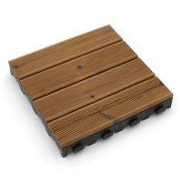 Hnědá dřevoplastová terasová dlaždice Linea Combi-Wood - 40 x 40 x 6,5 cm